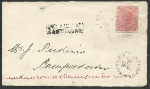 VICTORIA AUSTRALIA 1905 local cover UNCLAIMED AT / CAMPERDOWN, DLO cds.....58849