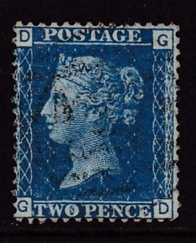 Great Britain 1855 Nr.15 2d blue perf.14 bluish paper F/VF/Used