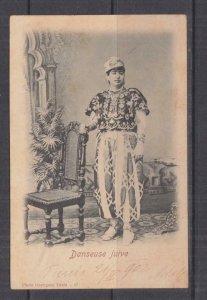 TUNISIA, 1902 ppc. Jewish Dancer in Costume, 5c. Tunis to Austria.