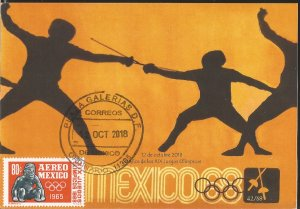 J) 2018 MEXICO, FENCING, 50 YEARS OF THE OLYMPIC GAMES, POSTCARD