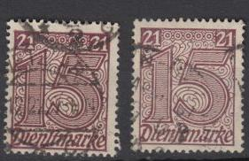 Germany - 1920 Official 15pf from set 21 shades  (141)