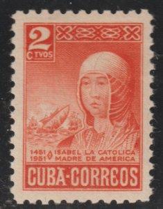 1952 Cuba Stamps Sc 472  Queen Isabella I Spain V Centenary  MNH