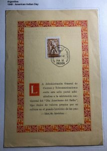1948 Buenos Aires Argentina First Day Souvenir Sheet Cover Indian American Issue