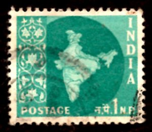India 1np Map of India 1960 SG.399, Sc.302 Used (#07)