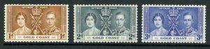 Gold Coast SG117/9 1937 Coronation M/M Cat 7 pounds (4)