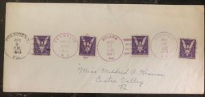 1943 Roosevelt NY USA Presidents Names & Cities Postmarks Cover Victory Stamps
