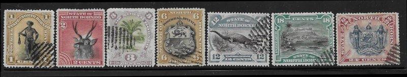 North Borneo 59, 61-63, 65-67 used 2018 SCV $9.40   #13429