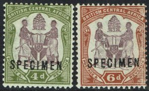 BRITISH CENTRAL AFRICA 1897 ARMS 4D AND 6D SPECIMEN