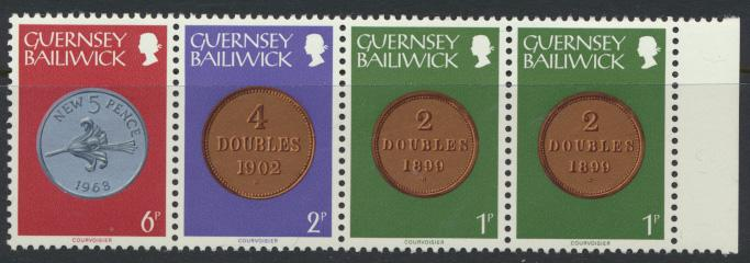 Guernsey  SG 178a Booklet strip of 4 SC# 178a MLH  see details