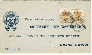 Orange Free State 1900 Bloemfontein cancel on insurance ad cover to CGH