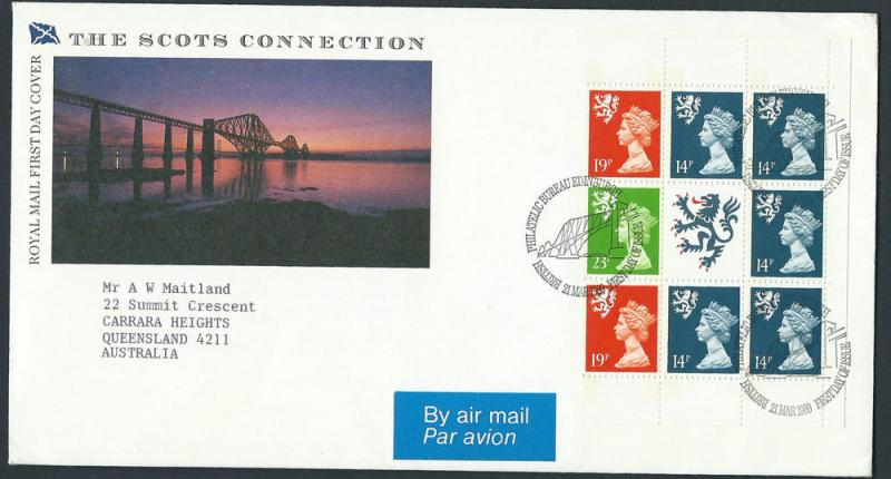GB QEII 1989 Machins Booklet Pane s55l VFU Scots Connection