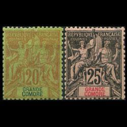 GRAND COMORO 1897 - Scott# 9-10 Goddess 20-25c LH back thin