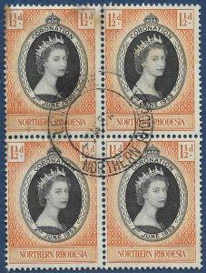 Northern Rhodesia 1953 Coronation of QEII block of 4 sg 60 Used BULAWAYO