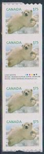 Canada -2011 $1.75 Baby Polar Bear Coil Gutter Strip of 4 VF
