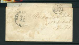 UNITED STATES OCT 22, 1881 PO   STAMPLESS COVER WASHINGTON DC TO NY  AS SHOWN