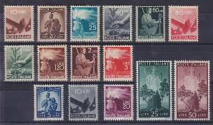 Italy Sc 463/476 MNH. 1945-46 Definitives, 15 diff F-VF