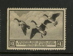 1936 US Federal Duck Stamp #RW3 Mint Very Fine No Gum Creased