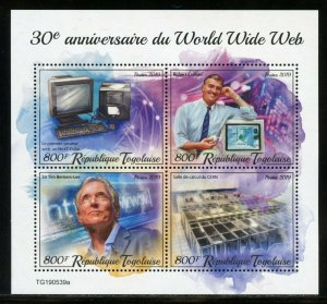 TOGO 2019 30th ANNIVERSARY OF THE WORLD WIDE WEB SHEET  MINT NH