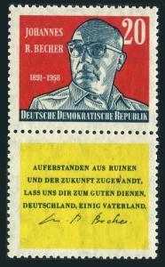 Germany-GDR 466-label,MNH.Mi 712. Johannes R.Becher,writer,1959.National anthem.