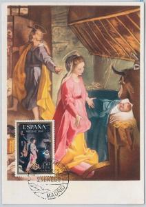 MAXIMUM CARD  - ART / CHRISTMAS : Barocci - SPAIN 1969