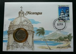 Nicaragua Monuments - Church 1984 Beach Tourism Building FDC (coin cover *c scan