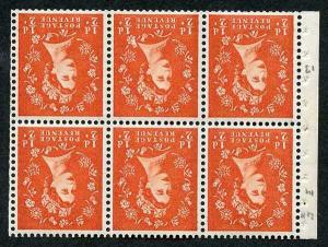 SG14a 1/2d 2nd Graphite Wmk Crowns Inverted Booklet Pane of 6 U/M