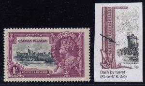 Cayman Islands, SG 111i, MHR Dash by Turret variety