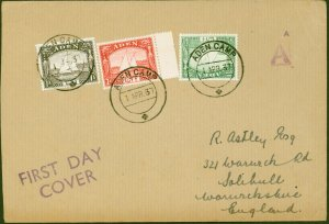 Aden 1 APR 1937 1st Day Cover to England A Cache in Violet Fine