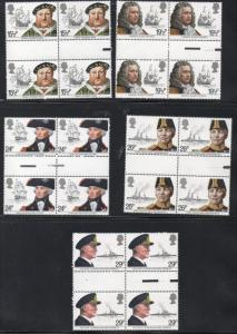 Great Britain Sc 991-5 1982 Royal Navy stamps gutter blocks of 4 mint NH