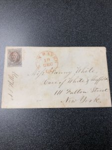 Scarce US #1   5c Stamp On Cover From New Haven CT. To New York At Dec. 18 / VF