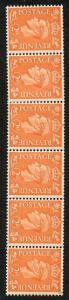 KGVI SG488a 2d Pale Orange U/M Strip 6 Wmk Sideways