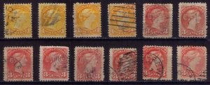 CANADA Sc 35 AND 37 Used Lot Of (12) Color Shades Queen Victoria F-VF