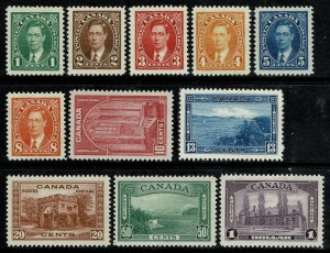 CANADA KGVI 1937-38 COMPLETE SET of 11 UNUSED (MH) SG357-SG367 P.12 XF/SUPERB