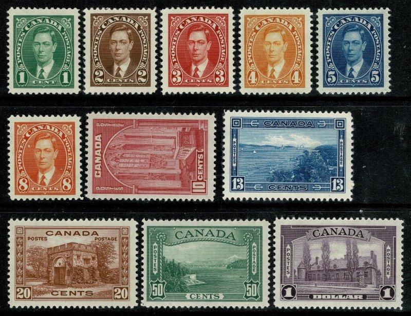 CANADA KGVI 1937-38 COMPLETE SET of 11 UNUSED (MH) SG357-SG367 P.12 XF/SUPERB