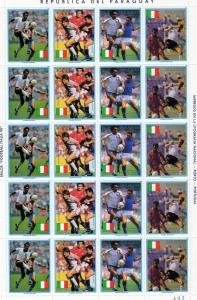 Paraguay 1989 ITALY 90th.WORLD CUP FOOTBALL Sheet (5)+label Perforated Mint (NH)