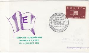 France 1964 Euro Wk Pic Sport+Culture Slogan Cancel Europa Stamp Cover Ref 31724