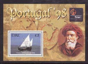 Ireland-Sc#1145-unused souvenir sheet-margin is hinged, stamp NH-Tall Ships Race