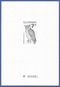 SLOVAKIA 1994 Sc 186 VF MNH Birds, Black Proof Sheet on heavy card, OWL