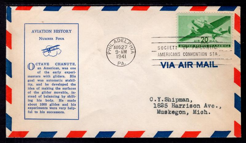 US C29 Airplane Linprint Typed FDC