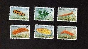 NORFOLK ISLAND MNH SET OF 6 NUDIBRANCH (sea life) STAMPS SCOTT # 538 - 543