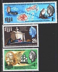 Fiji. 1967. 205-7. In memory of Admiral Bligh, sailboat, map. MVLH.
