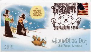 18-016, 2018, Groundhog Day, Pictorial Postmark, Event Cover