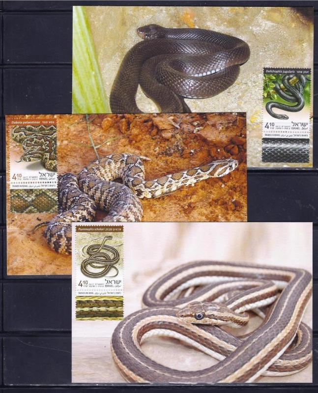 ISRAEL STAMPS 2017 SNAKES IN ISRAEL SPECIAL SHEET VIPER MAXIMUM CARD