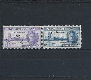 MAURITIUS 1946 VICTORY PAIR PERF SPECIMEN MM SG 264s/265s CAT £95