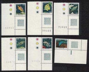 Monaco Fishes in Oceanographic Museum Aquarium 2nd series 6v Corners 1988