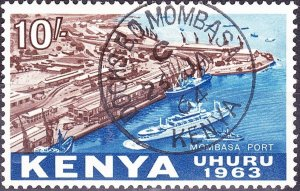 KENYA 1963 QEII 10/- Brown & Deep Blue SG13 FU