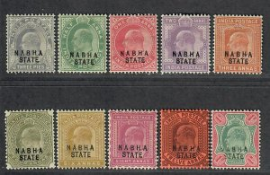 $India States Nabha Sc#27//36 part set no #30a, Cv. $51.20