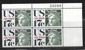 Scott C80 17c Statue of Liberty Upper Right PB #33096 F VF NH - DCV=$1.75