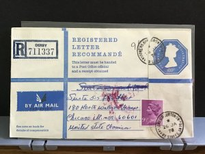 U.K 1978  Registered Letter Air Mail to America stamps cover R31621