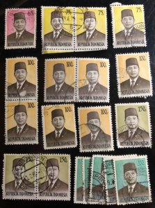 Indonesia Scott#906...914 Used Group of 19 F/VF to XF Cat. $5.10